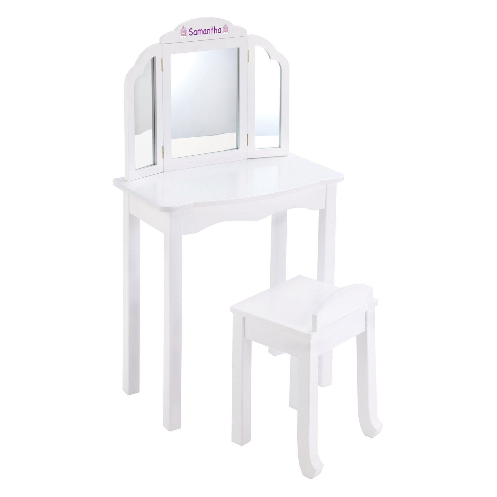 Guidecraft Expressions White Vanity With Personalization Purple