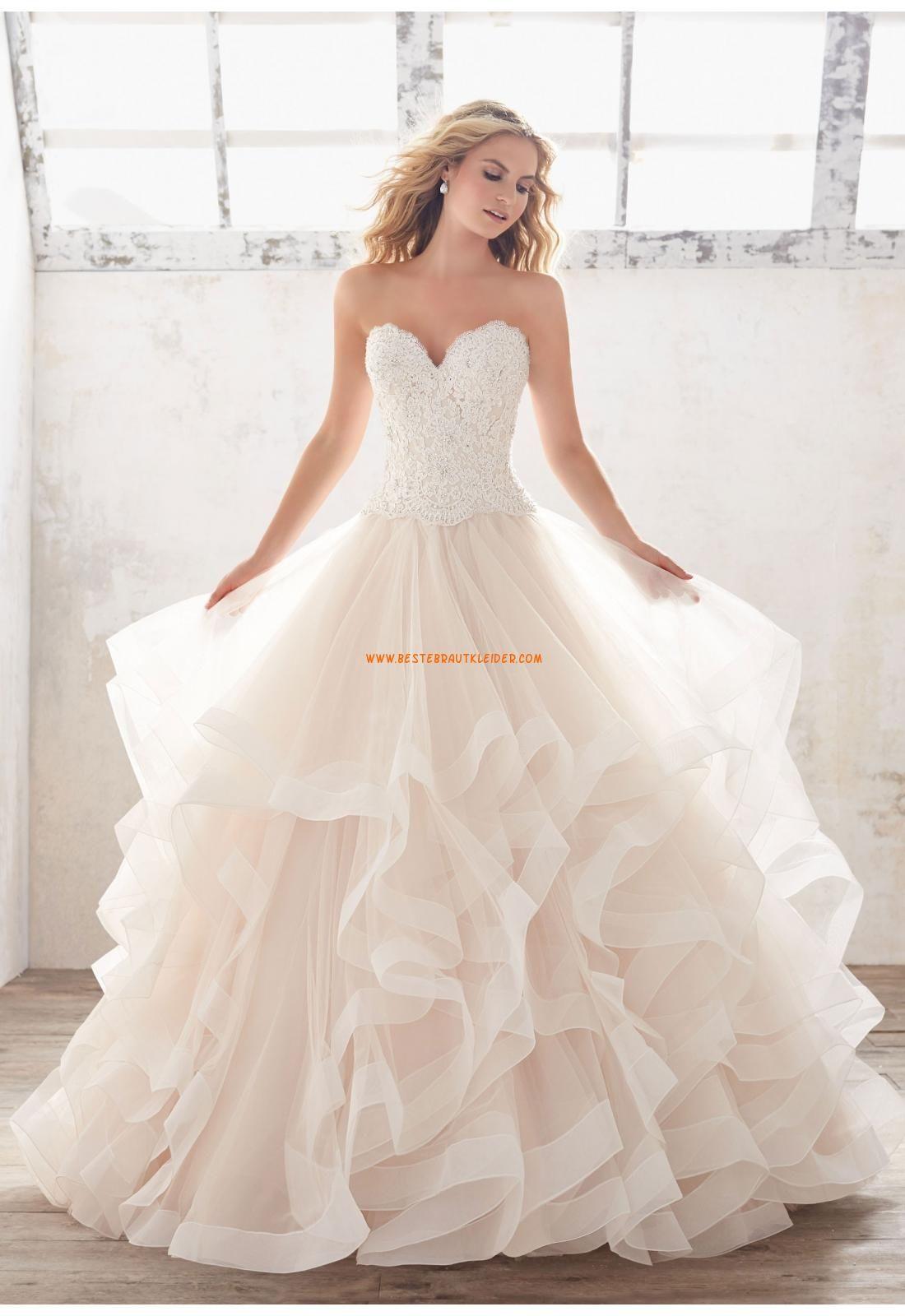 Prinzessin Glamouröse Schöne Brautkleider aus Organza mit Schleppe
