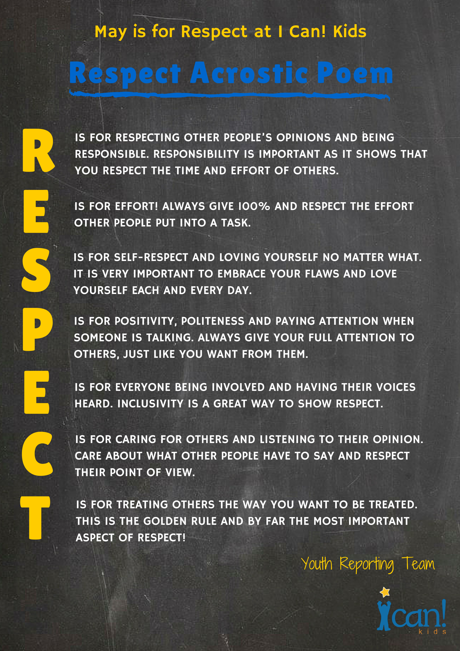 Respect Acrostic Poem From I Can Kids