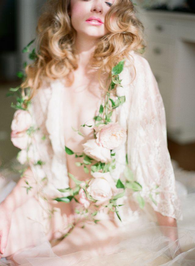 Romantic, vintage boudoir session with a flower garland  | Carmen Santorelli Photography | see more on: http://burnettsboards.com/2014/08/vintage-flower-infused-boudoir-session/