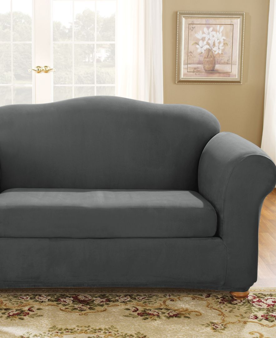 Incredible Stretch Suede Box Cushion Loveseat Slipcover Products Machost Co Dining Chair Design Ideas Machostcouk