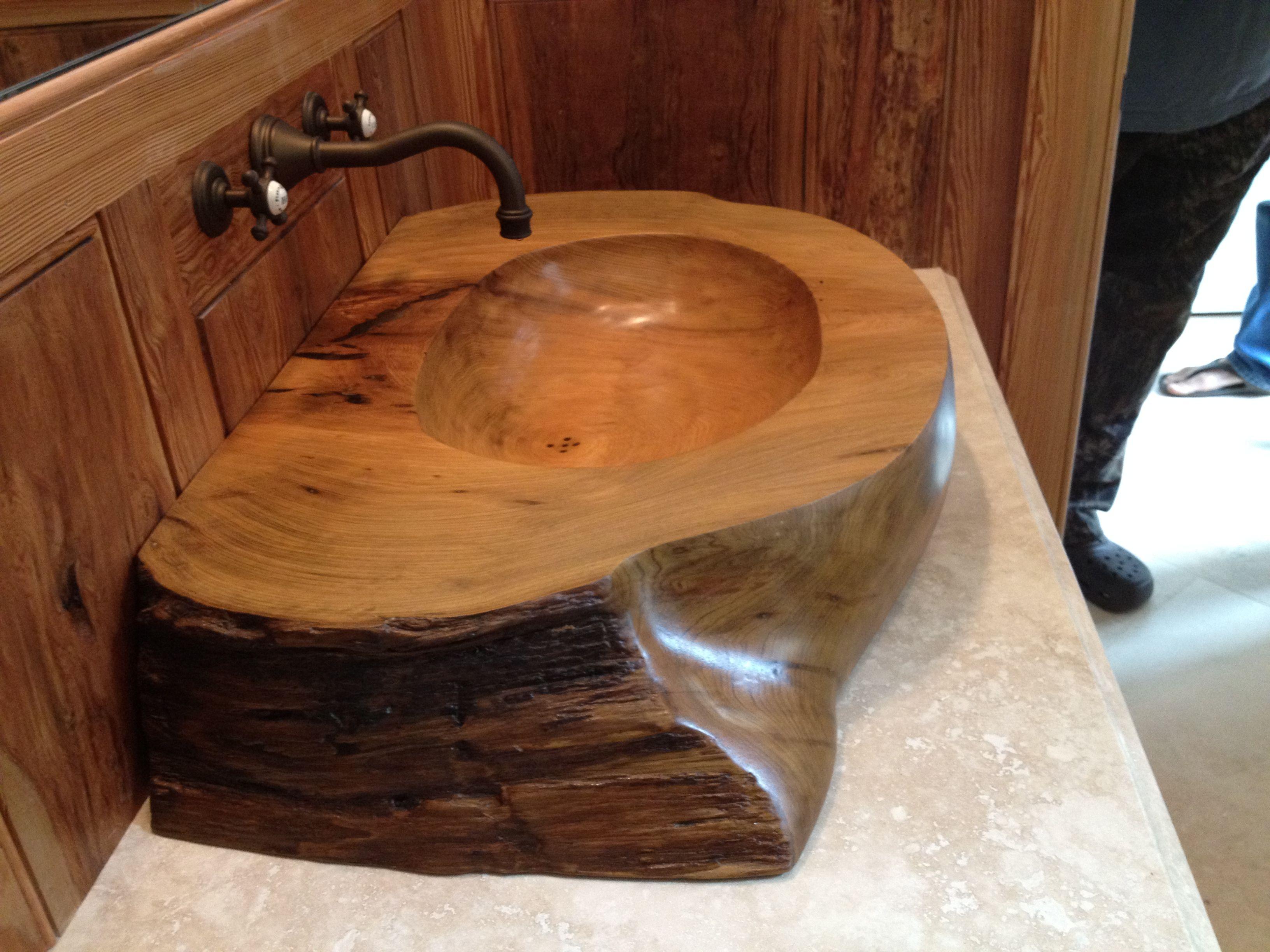 Wooden sink logs for Lavamanos rusticos de madera