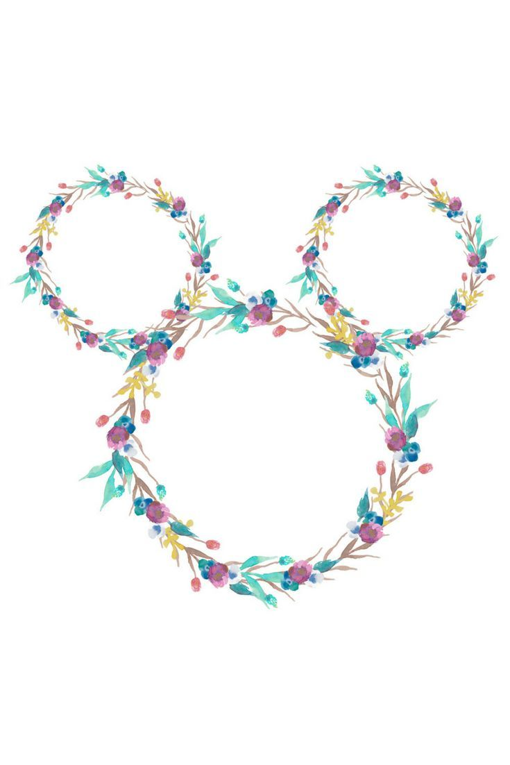 Mickey Mouse Floral Art Print - Digital Download - 2 Sizes