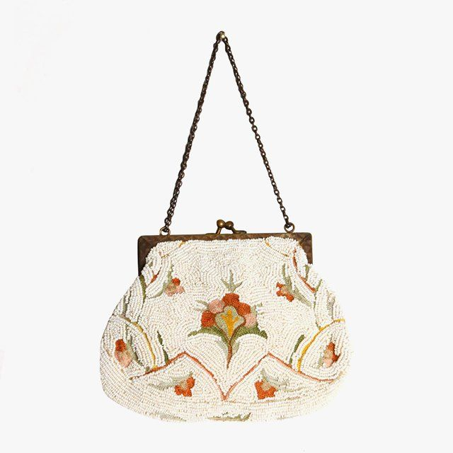 French handmade white beaded bag with floral embroidery, $325 1stdibs.com
