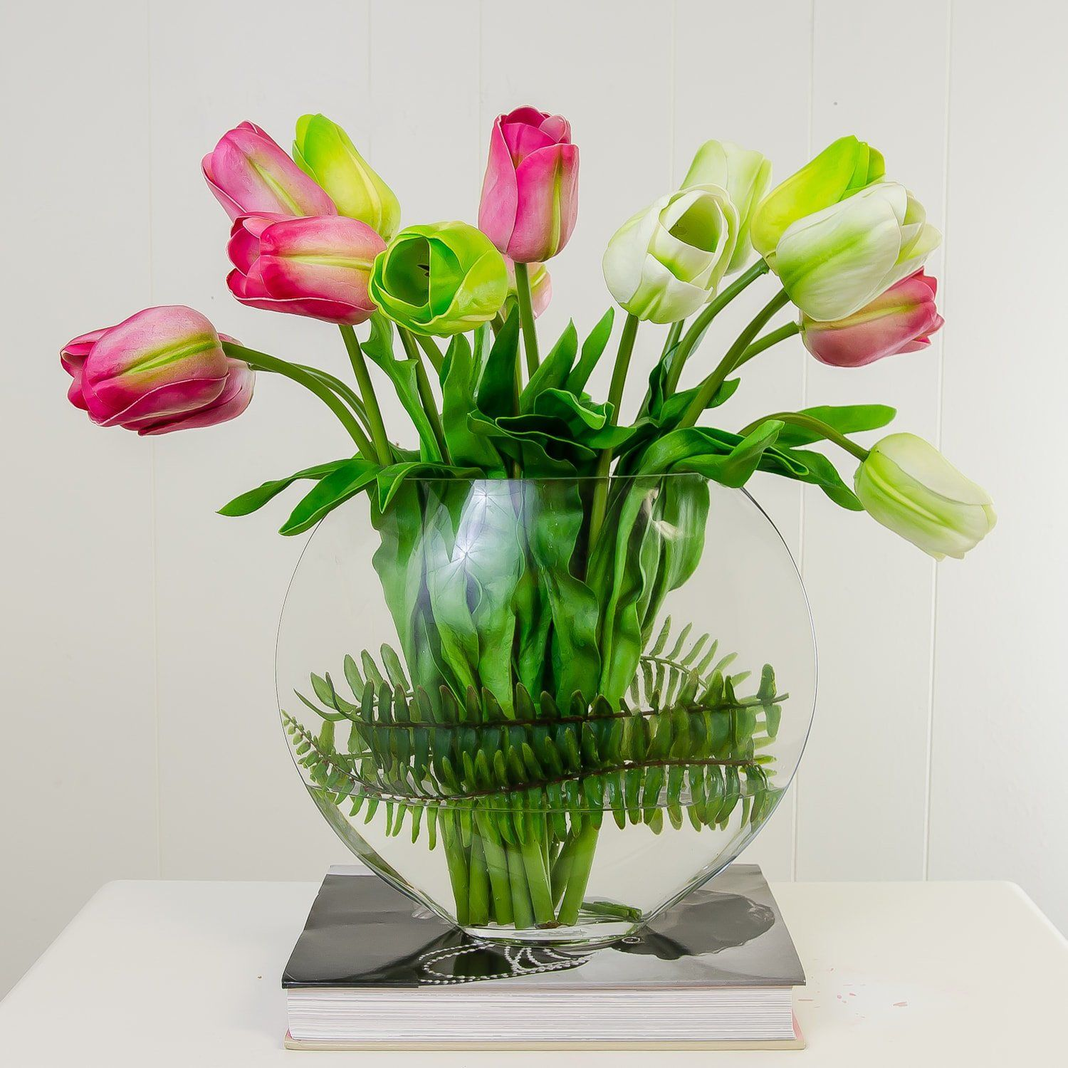 tulip vase arranged in p illusion flr flower and white ranunculus hill arrangement water balsam spfeat tulips