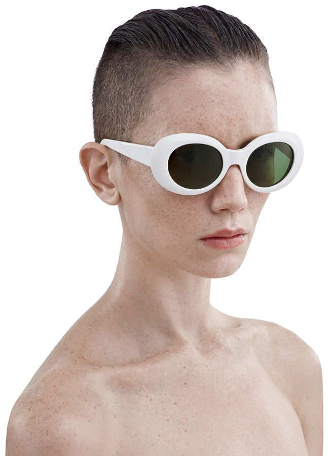 c501a23c29927 Acne Studios Mustang Off White Round frame acetate sunglasses ...
