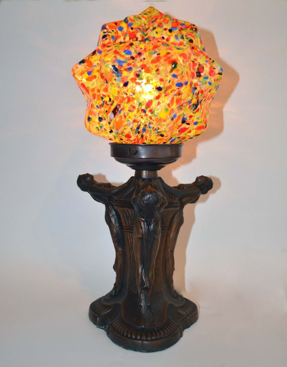 Art Deco Style & Light Art Deco Figural Lamp With Czech End Of The Day Glass Shade