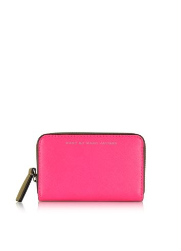Marc by Marc Jacobs Sophisticato Colorblocked Knockout Pink Leather Zip Card Case
