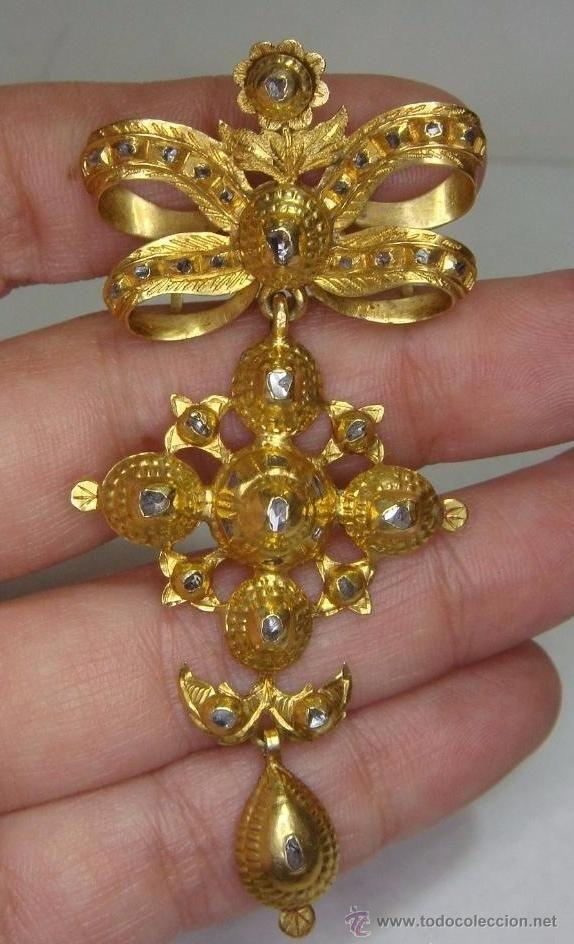 4a9cd202b9af Antigüedades  Precioso Broche o Colgante antiguo. S.XVIII-XIX. Oro 18 k y  Zafiros Blancos. - Foto 2 - 51179130