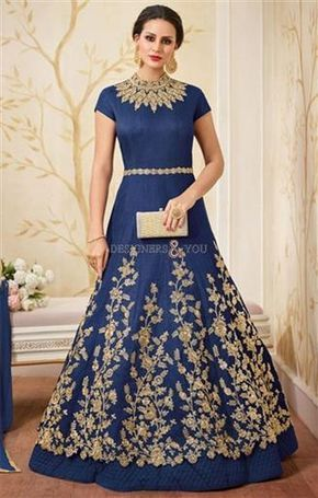 Bewitching Cobalt Blue Designer Indian Party Wear Gown Online ...