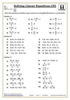 Solving Equations Maths Worksheet | คณิตศาสตร์ | Pinterest
