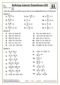 Solving Equations Maths Worksheet | คณิตศาสตร์ | Pinterest
