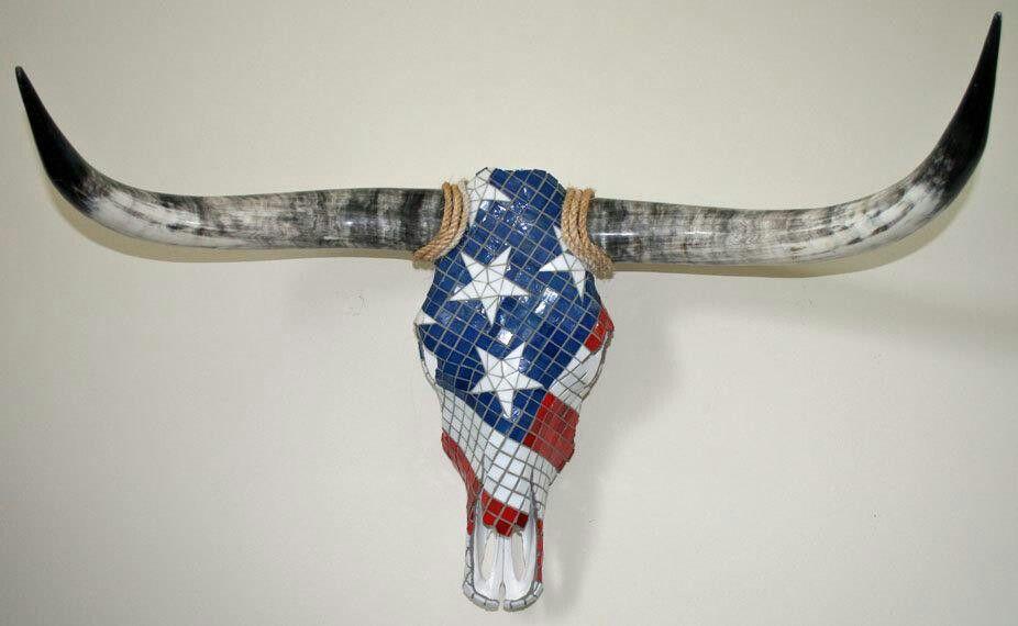 American flag mosaic skull