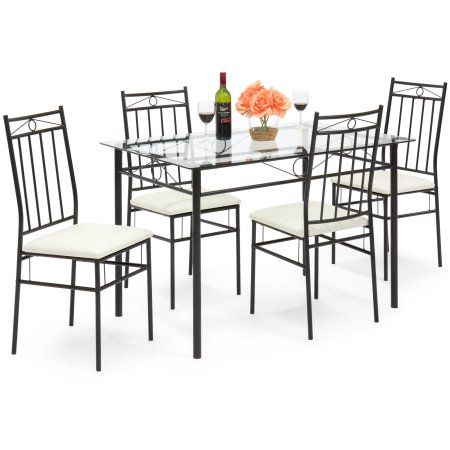 Best Choice Products 5-Piece Glass Table Dining Set w/ Chairs (White