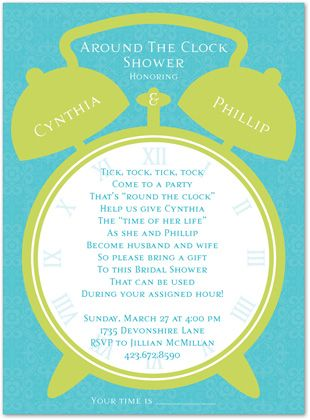 Clock bridal shower invitations wording always a fun idea clock bridal shower invitations wording always a fun idea went to one before and it was neat filmwisefo