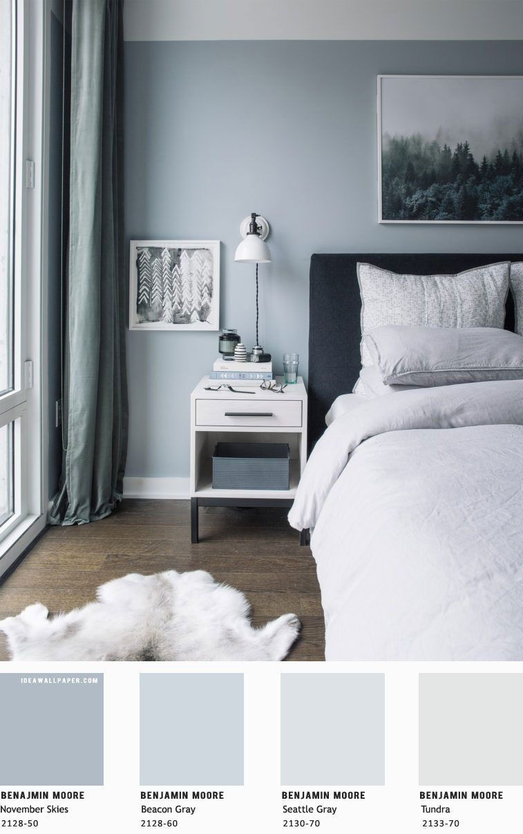 Beautiful Bedroom Blue Grey Color Palette In 2020 Blue Bedroom