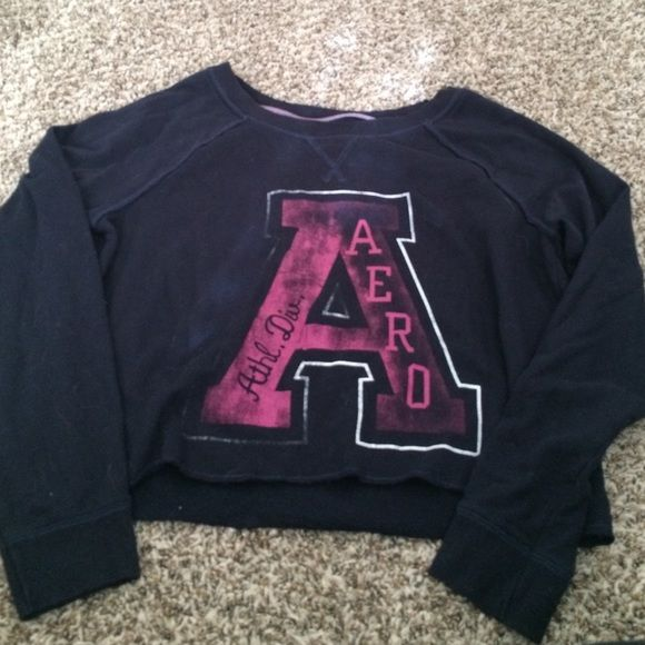 Aeropostale Cropped Sweatshirt Lightly worn. Some of the letter A is a bid faded as shown in picture two. Aeropostale Tops Sweatshirts & Hoodies