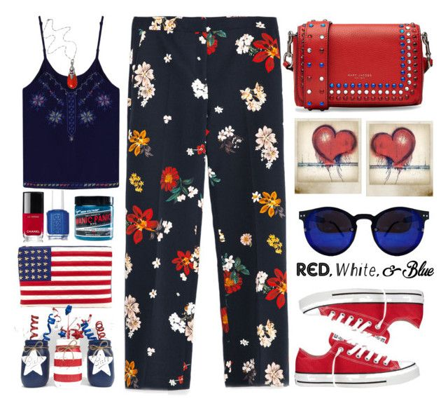 """Freedom  "" by karineminzonwilson ❤ liked on Polyvore featuring Marc Jacobs, Zara, Chanel, Manic Panic NYC, Converse, Polaroid, Essie, Georg Jensen, redwhiteandblue and july4th"