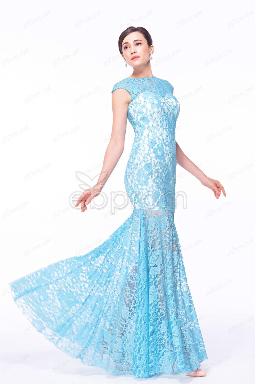 Sky blue mermaid evening dresses see through | Mermaid evening ...