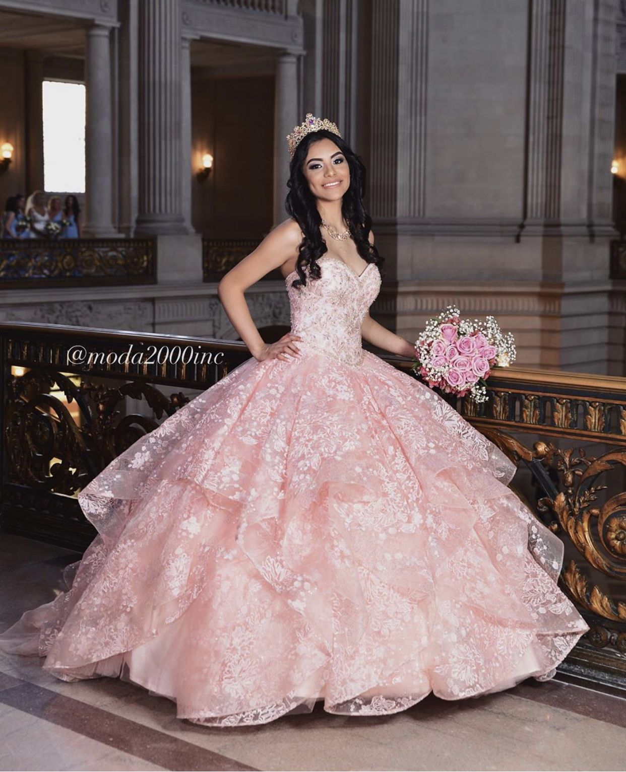 Floral Pink Ruffled Quinceanera Dress Quince Dresses Quinceanera Dresses Pink Quinceanera Dresses [ 1533 x 1242 Pixel ]