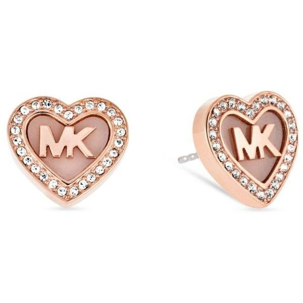 1ec5d4a21920 Michael Kors Rose Gold Rose Gold- Tone Mk Heart Pave Crystal Halo Stud...  (115 NZD) ❤ liked on Polyvore featuring jewelry