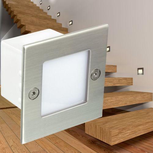 Led Wandeinbauleuchte Boden Treppen Strahler Innen Und Aussen 230v Ip54 Weiss Treppenbeleuchtung Innen Einbauleuchten Treppenbeleuchtung