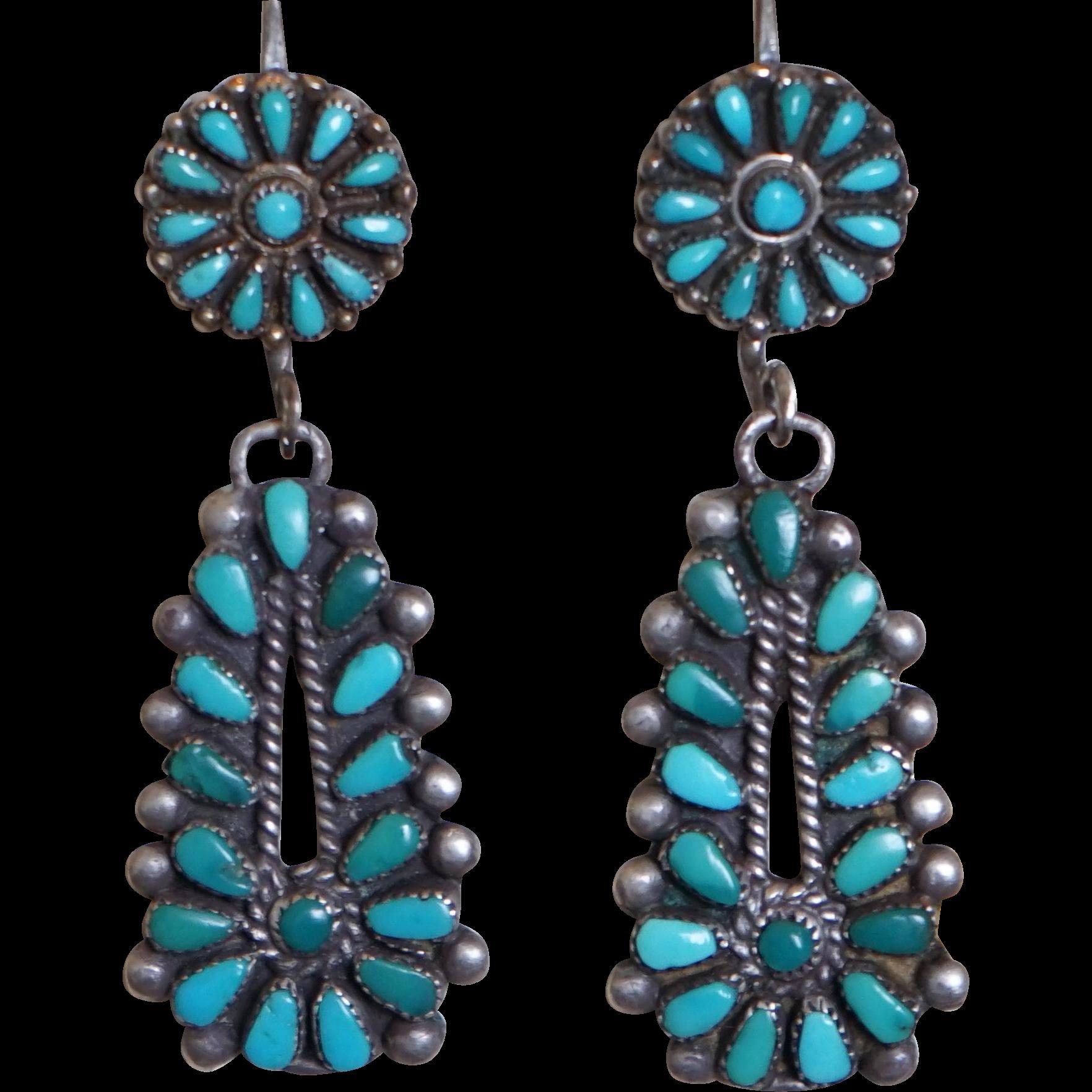 Vintage Turquoise Boho Earrings Antique Jewelry Long Dangle Earring necklace Set
