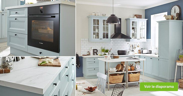 Meuble de cuisine bleu delinia ashford leroy merlin cocinas kitchen cabinets kitchen et - Meuble cuisine bleu ...