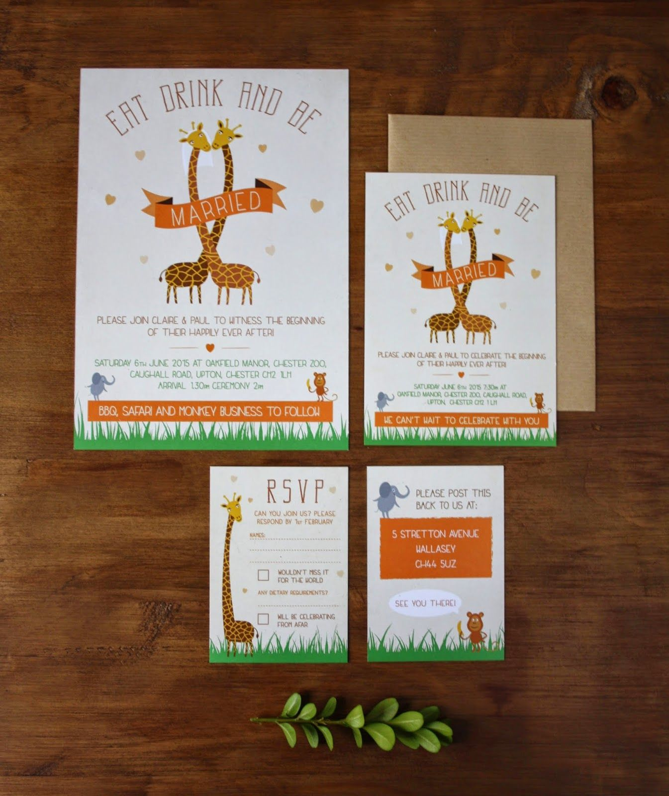 Zoo Themed Wedding Invitations for a Wedding at Chester Zoo. Bespoke ...