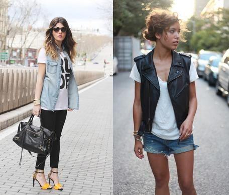 5 Combinações com Tshirt Branca:    3 - Camiseta Branca + Colete Jeans, ou colete em qualquer outro tipo de tecido/material.