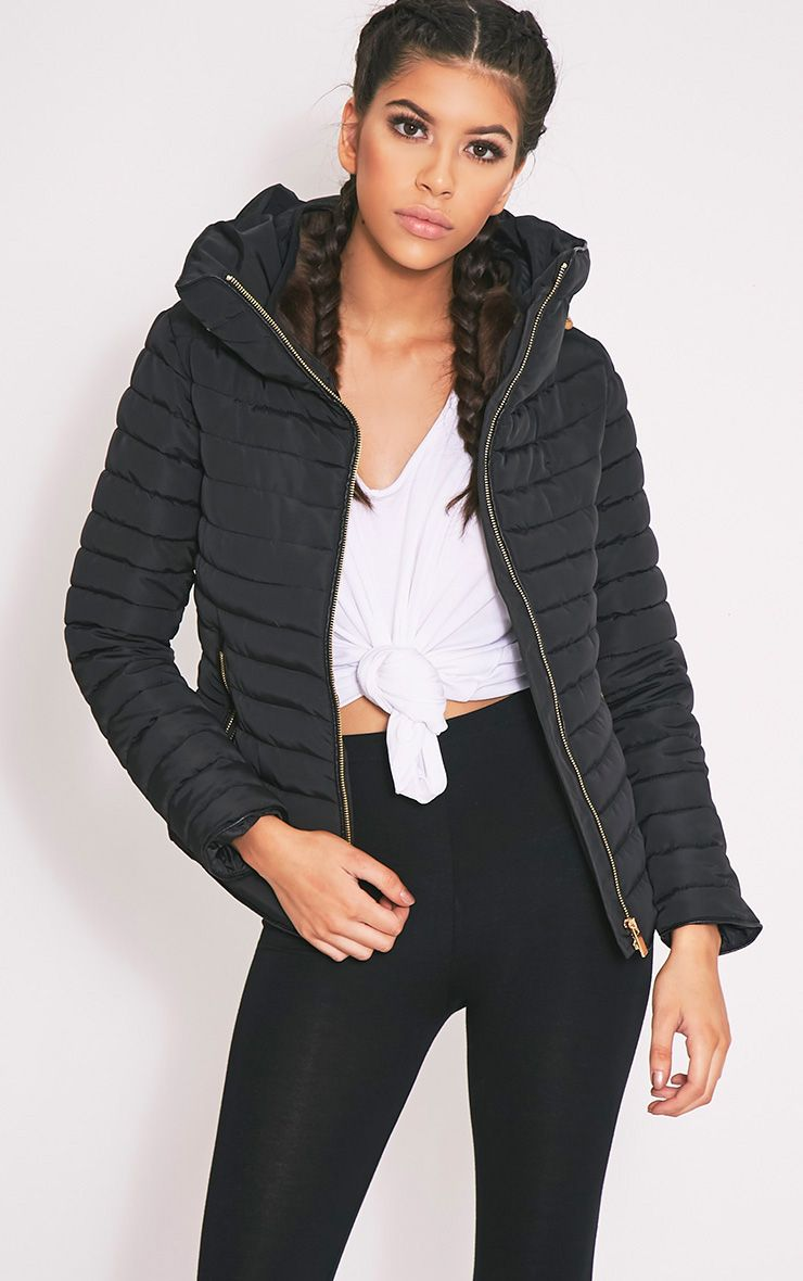 Mara Black Padded Jacket - Coats & Jackets - PrettylittleThing UK ...