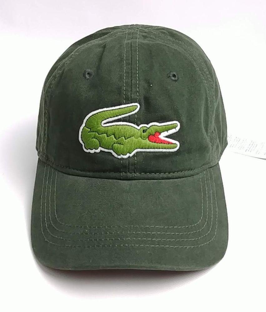 5689476bb15 Lacoste Men s Gabardine Cap with Large Crocodile Sherwood Sage Green Cotton   Lacoste  Hat
