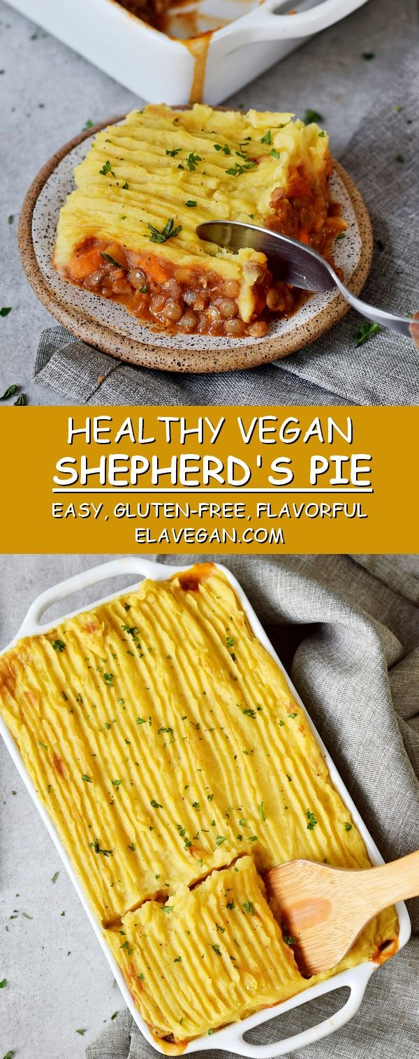 This Vegan Shepherd's Pie is the perfect comfort food which is gluten-free and easy to make. Made with lentils, veggies, and mashed potatoes! A great meat-free dinner recipe which is flavorful and very tasty! #veganshepherdspie #shepherdspie #veggiepie #vegancottagepie #cottagepie #mashedpotatoes #elasrecipes | elavegan.com #comfortfoods