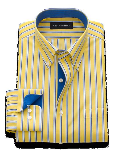 Paul Fredrick Mens Classic Fit Non-Iron Cotton Geometric Print Dress Shirt