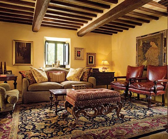 Tuscan Living Room Colors With Dark Wood Beams
