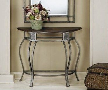 Hillsdale - Console Table w Wood Top, Wrought Iron Base - Montello