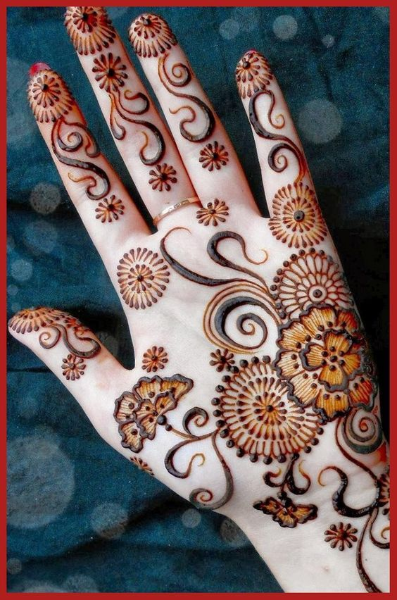 Simple Arabic Henna Pattern For Left Hand Mehandi