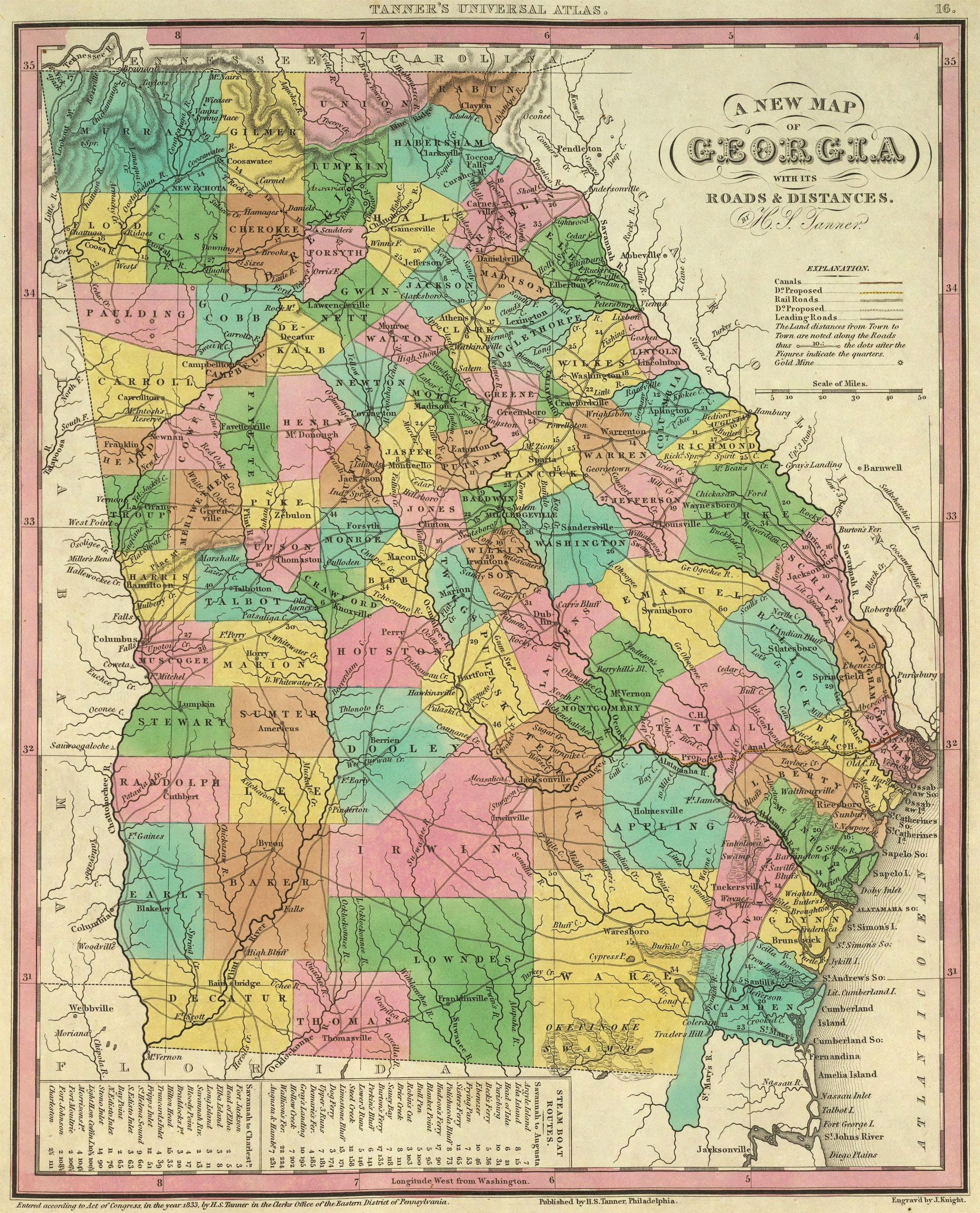 Colonial Map Of Georgia.1836 Map Of Georgia With Its Roads And Distances Heritage