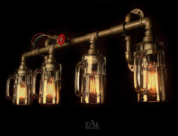 Vintage Style Bathroom Vanity Lights vanity light. plumbing fittings & beer mugs with vintage style