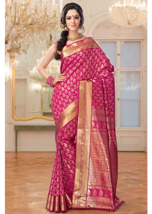 037590ae5bddfe Pink Colour Brocade Weaved Kanchipuram Silk Saree - SR2603 ...