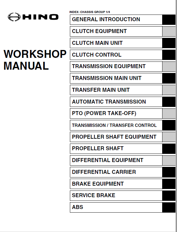Hino Truck 2015 Conventional Service Manual Hino Trucks Manual