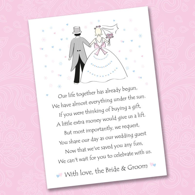25 X Wedding Poem Cards For Your Invitations Ask Politely Money Cash Gift