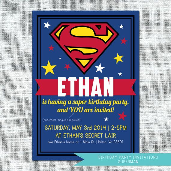 Party Invitation Superman Digital File 11 99