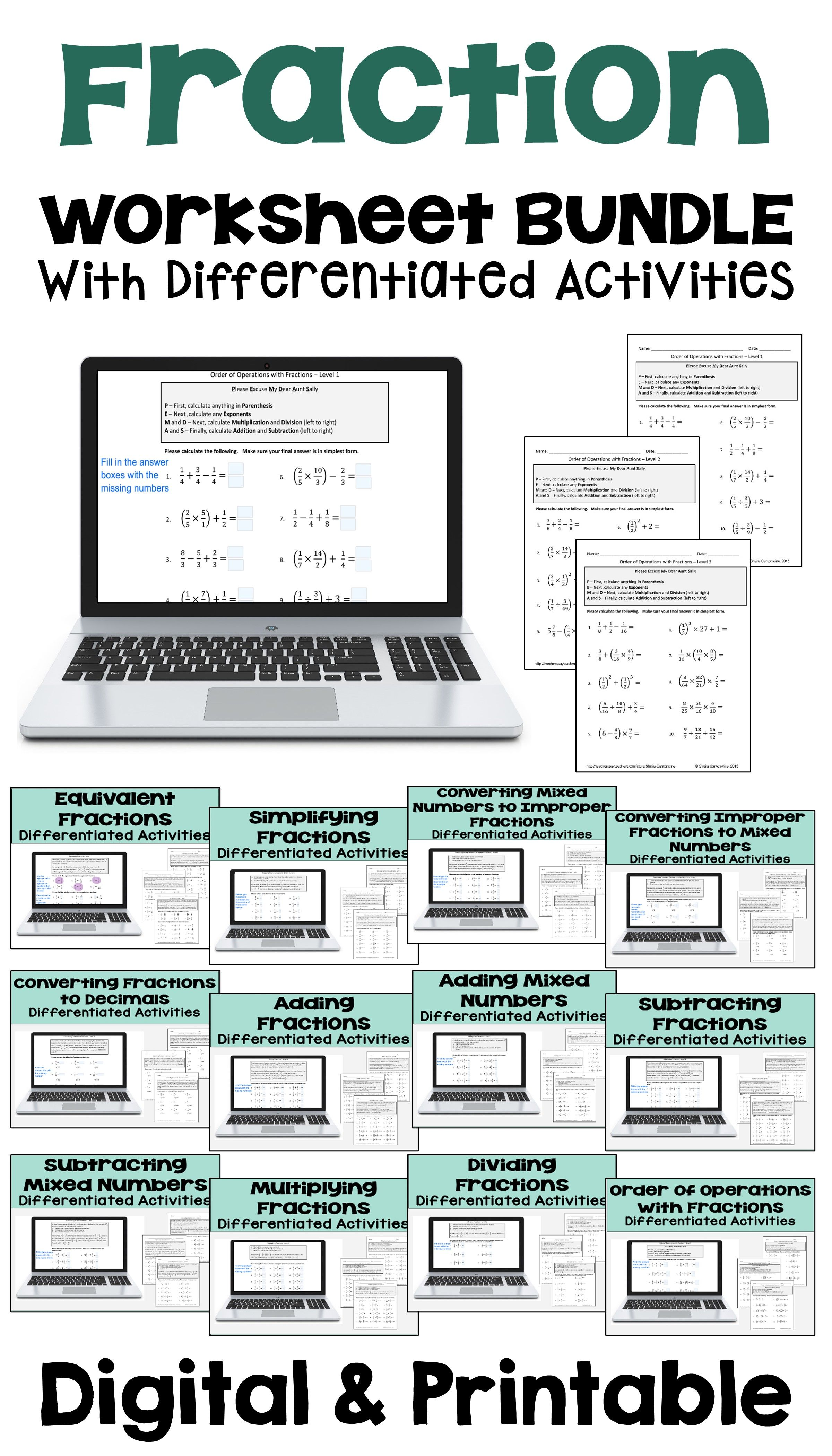 Fraction Worksheet Bundle With Differentiated Activities