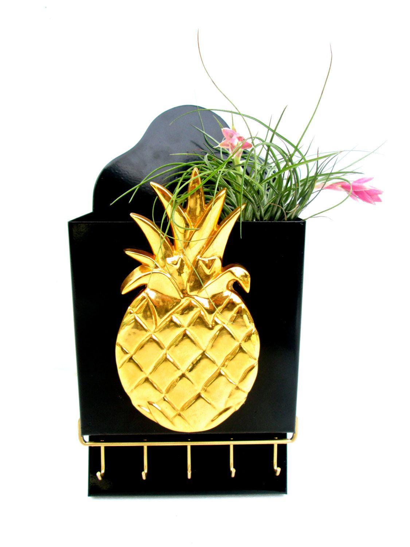 Vintage Brass Pineapple Wall Mount Mail & Key Rack Holder ...