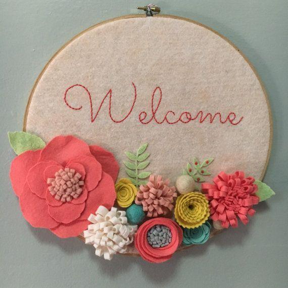Embroidery Hoop Art Wall Art Door Sign Welcome 3 D