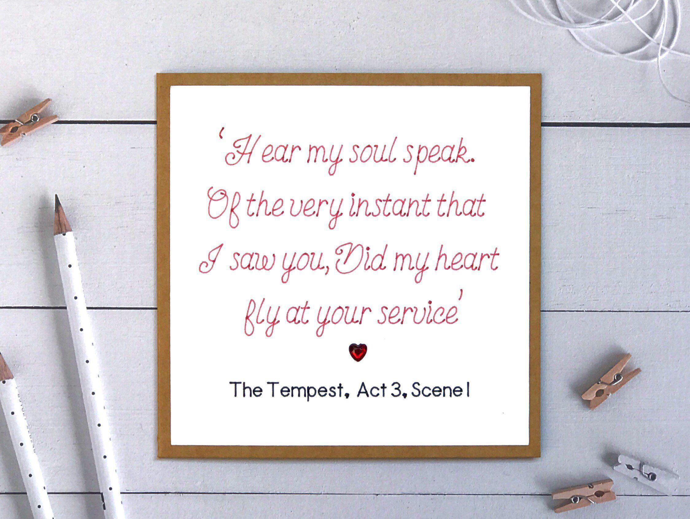Shakespeare lovers anniversary card anniversary card anniversary
