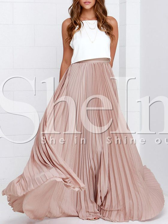 Pink Pleated Maxi Skirt | Maxi skirts, Skirts and Shops
