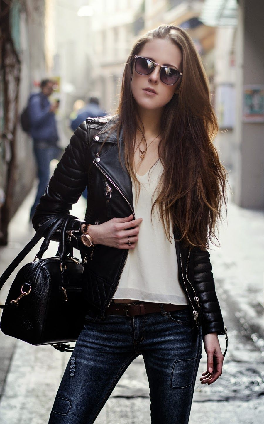 35 Trendy Womens Leather Jackets Chic summer outfits