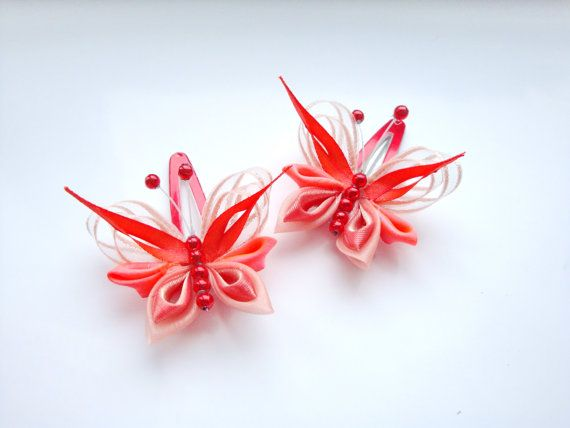 Two butterflies kanzashi  hair  clips by Stephaana on Etsy